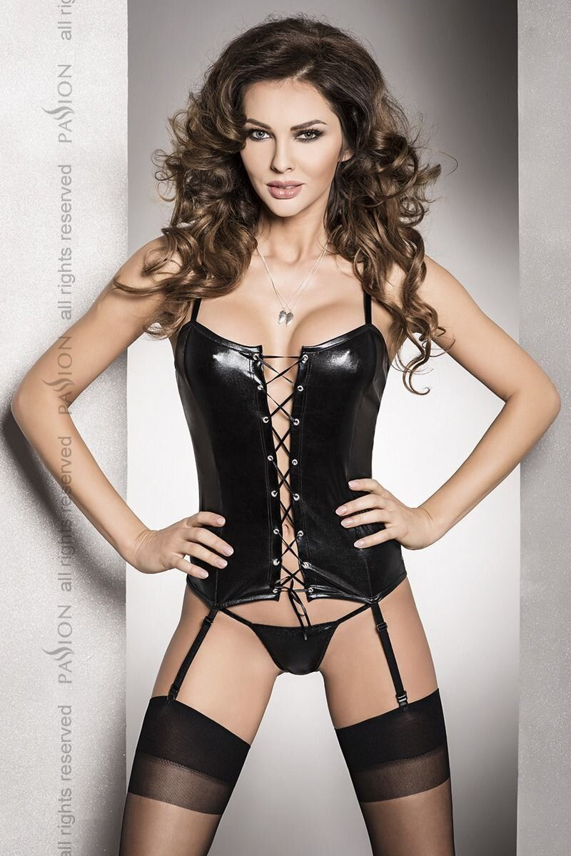 Корсет под латекс с пажами BES CORSET black XXL/XXXL - Passion Exclusive, стринги, шнуровка, Черный, S\M
