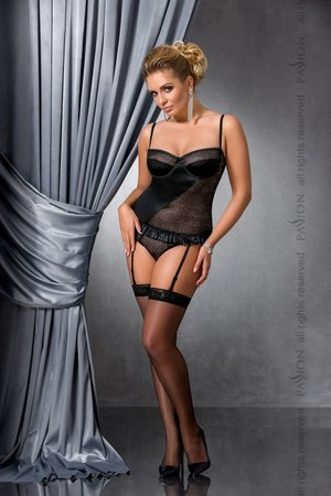 (SALE) Корсет с пажами CAROLYN CORSET black 6XL/7XL - Passion: шнуровка, трусики, Черный, 6XL\7XL